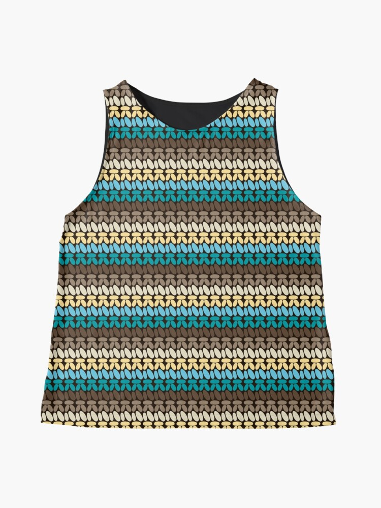 Alternate view of Pseudo crochet pattern with beach and ocean colors Sleeveless Top