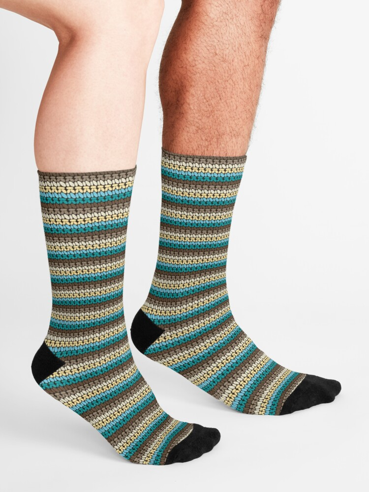 Alternate view of Pseudo crochet pattern with beach and ocean colors Socks