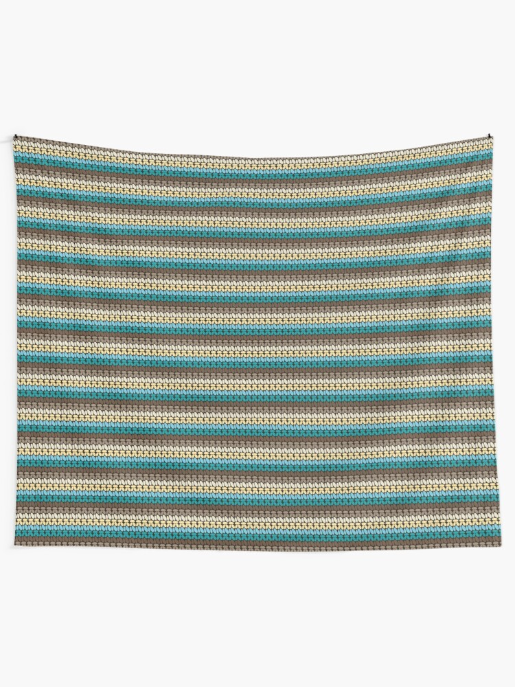 Alternate view of Pseudo crochet pattern with beach and ocean colors Tapestry