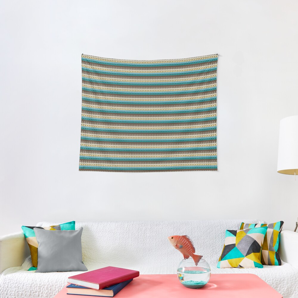 Pseudo crochet pattern with beach and ocean colors Tapestry