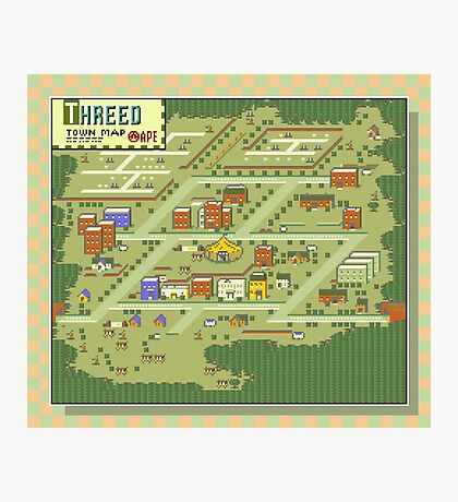 Threed Town Map - Earthbound/Mother 2 Photographic Print
