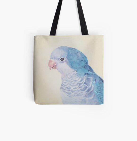 Blue Quaker - pet bird portrait painting All Over Print Tote Bag