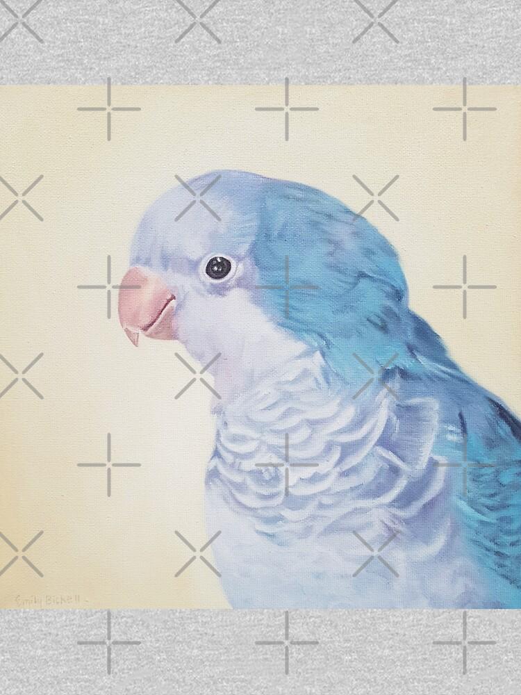 Blue Quaker - pet bird portrait painting by EmilyBickell