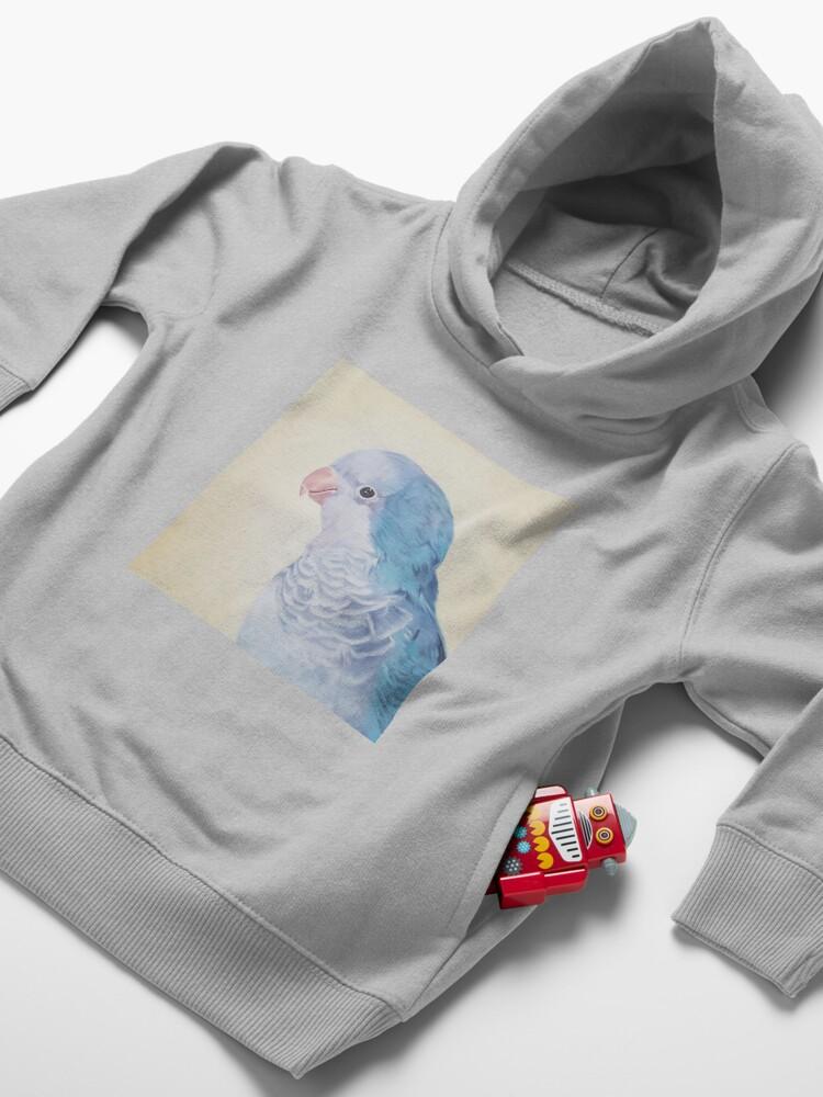 Alternate view of Blue Quaker - pet bird portrait painting Toddler Pullover Hoodie