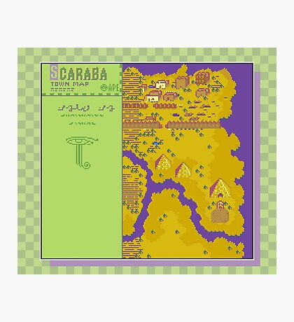Scaraba Town Map - Earthbound/Mother 2 Photographic Print