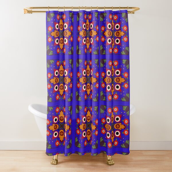 Bounty of Palestine- blue Shower Curtain