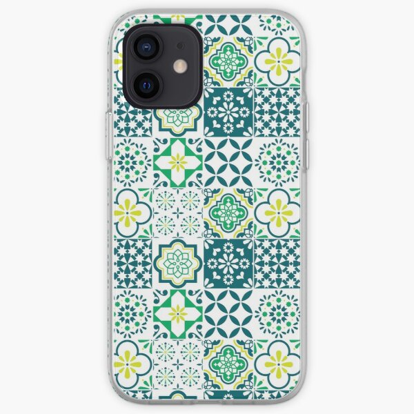 Colorful Azulejos Style Tiles Mosaic Green iPhone Soft Case