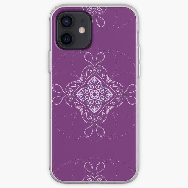 Plum Purple and White mandala  iPhone Soft Case