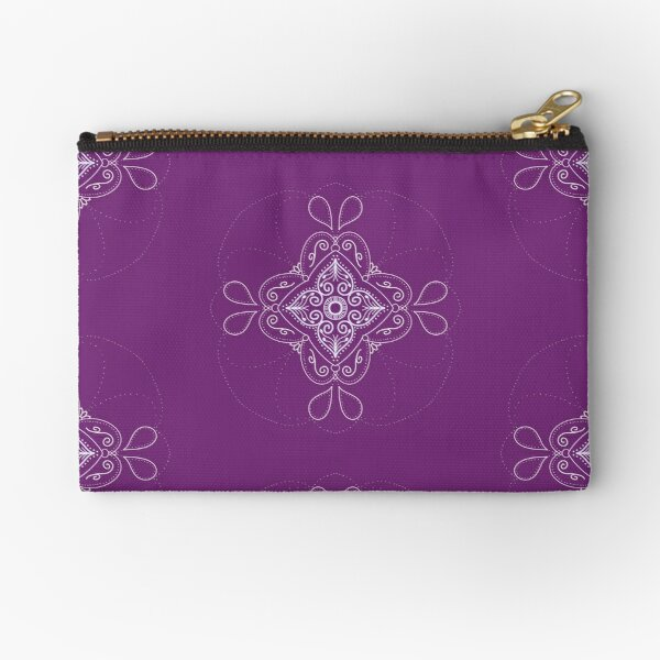 Plum Purple and White mandala  Zipper Pouch
