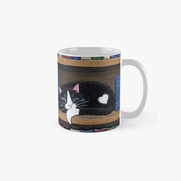Sleepy Cat on Shelf - Book Love Classic Mug