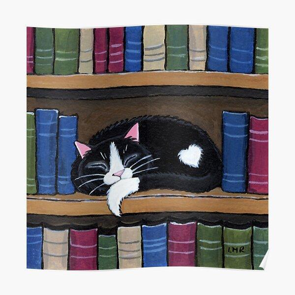 Sleepy Cat on Shelf - Book Love Poster