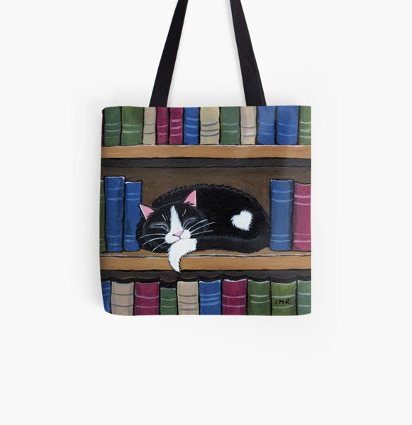 Sleepy Cat on Shelf - Book Love All Over Print Tote Bag