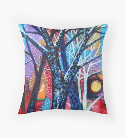 'Trees in an Abstract Sunset' Throw Pillow