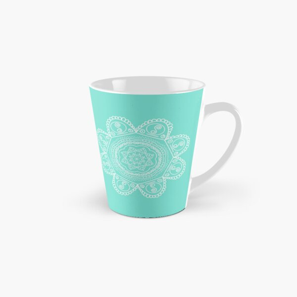 Mint Green and white mandala line drawing Tall Mug