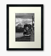 Snowy Engine Through the Rockies Framed Print