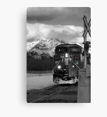 Snowy Engine Through the Rockies Canvas Print