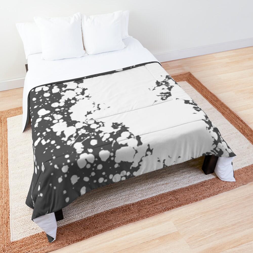 Gray and White Paint Splatter Comforter