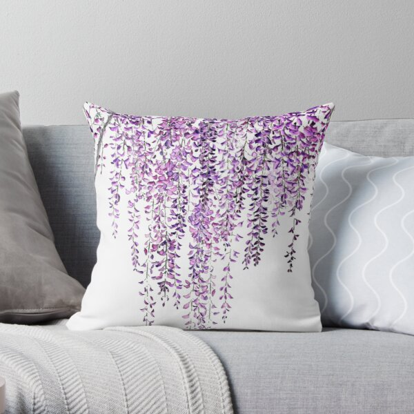 purple wisteria  in bloom  Throw Pillow