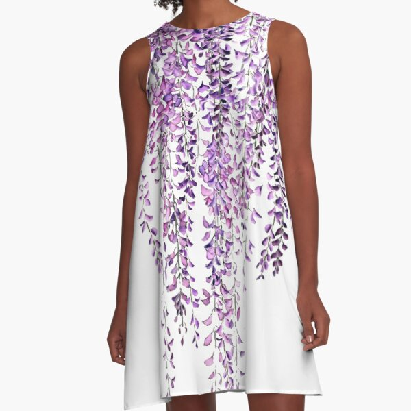 purple wisteria  in bloom  A-Line Dress