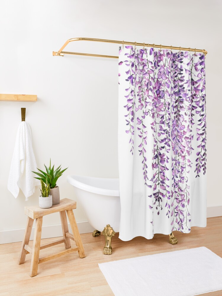 Alternate view of purple wisteria  in bloom  Shower Curtain