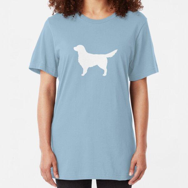 White Golden Retriever Silhouette(s) Slim Fit T-Shirt