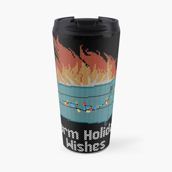 Ugly Christmas Sweater Design Dumpster Fire - Warm Holiday Wishes Travel Mug