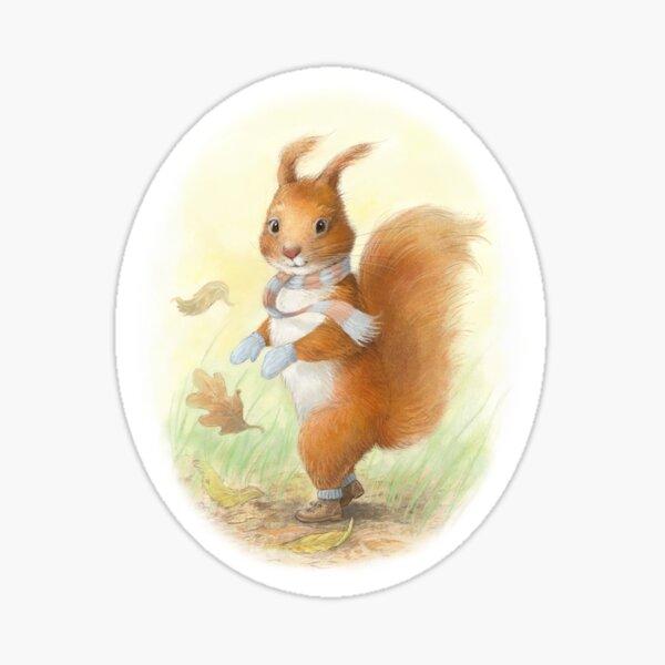 Windy Day Squirrel Sticker