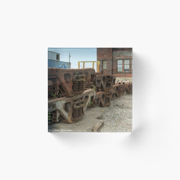 Rusty Wheel Sets Acrylic Block