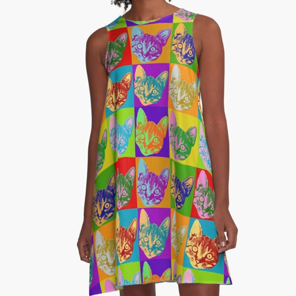 Cat Pop Art  Inspired Graphic Cats Kitty Bright Color Design A-Line Dress