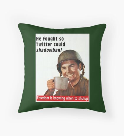He Fought for Twitter Shadowbans Throw Pillow