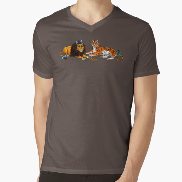 The Cowardly Lion and The Hungry Tiger by Kevenn T. Smith V-Neck T-Shirt