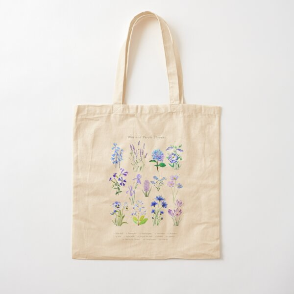 blue and purple  flower collection watercolor  Cotton Tote Bag