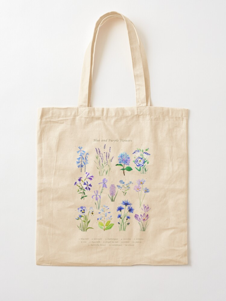 Alternate view of blue and purple  flower collection watercolor  Tote Bag