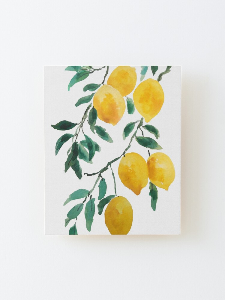 Alternate view of yellow lemon watercolor  Mounted Print