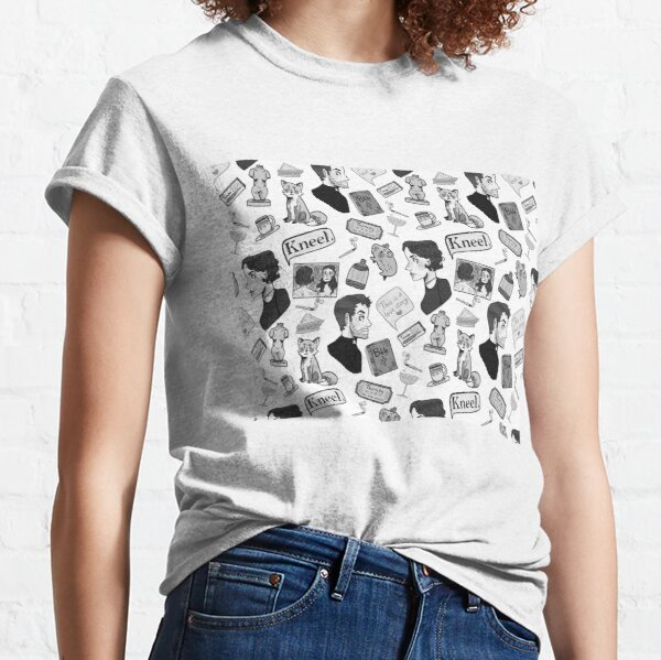 Fleabag (Pheobe Waller Bridge) + Hot Priest Surface Design Repeat Pattern (Black and White Version) Classic T-Shirt