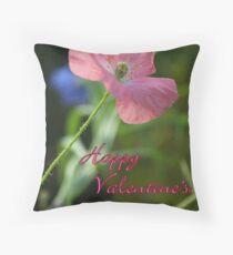 Poppy Notecard-  Happy Valentine's Day! Throw Pillow