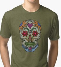Adult Coloring - Skull Tri-blend T-Shirt
