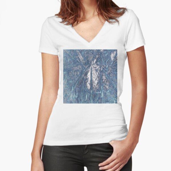 Crystalline Blue 3 Fitted V-Neck T-Shirt