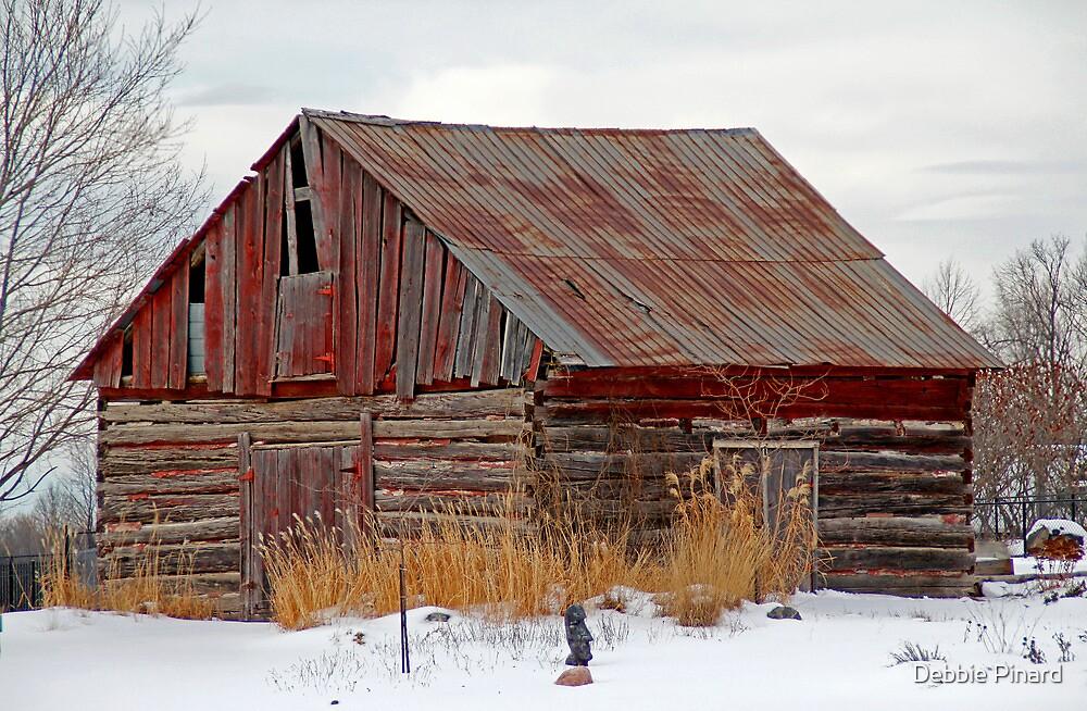 Red Barn in Winter - Aylmer Quebec by Debbie Pinard