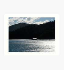 Floating house on the fjord Art Print
