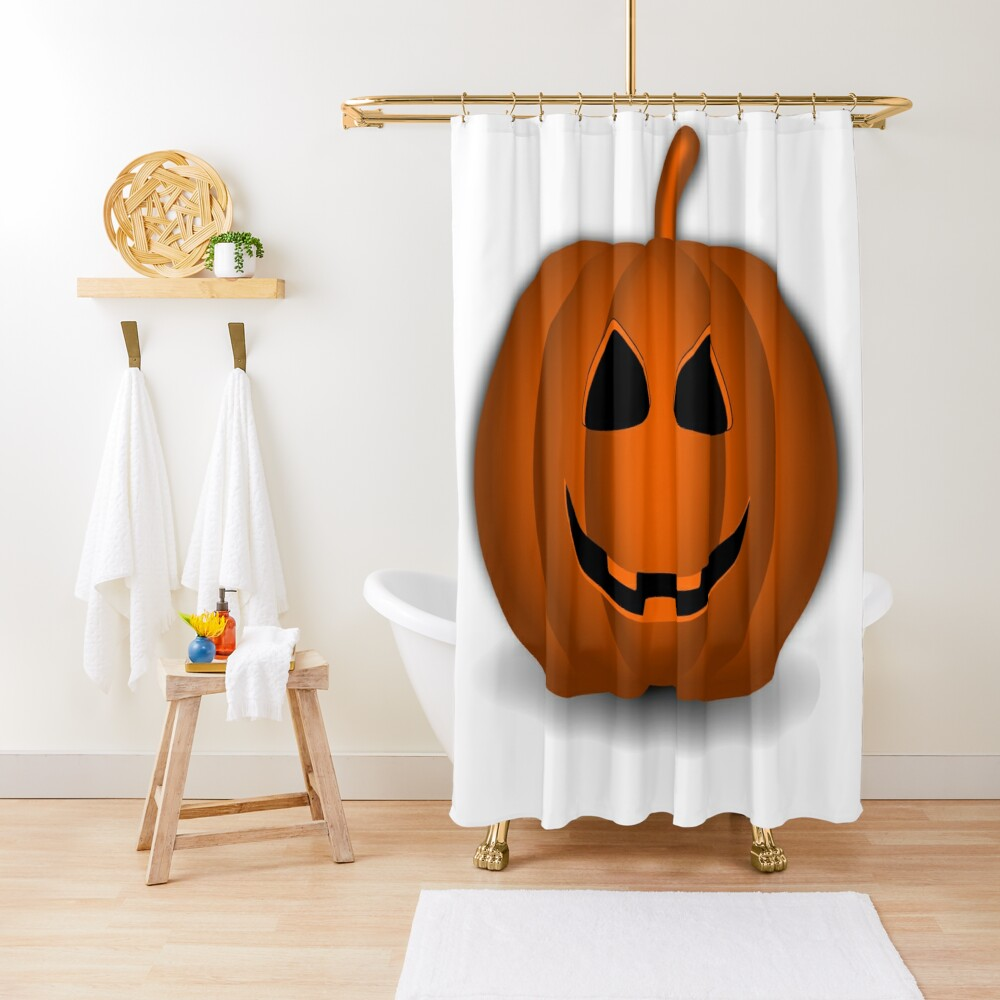 Pumpkin Halloween #halloween #pumpkin #orange #autumn #holiday #isolated #lantern #october #evil #face #jackolantern #horror #scary #jack #decoration #spooky #3d #illustration #season #smile #black Shower Curtain