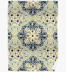 Protea Pattern in Deep Teal, Cream, Sage Green & Yellow Ochre Poster