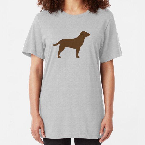 Chocolate Labrador Retriever Silhouette(s) Slim Fit T-Shirt
