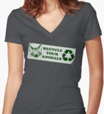 Recycle your Animals - Fight Club Women's Fitted V-Neck T-Shirt