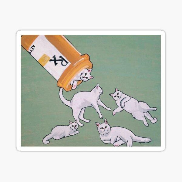 gatitos de la píldora Pegatina