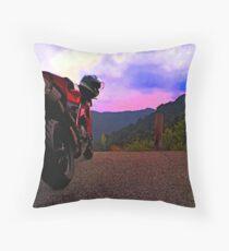 Ducati 848  riding in the Appalachians Throw Pillow