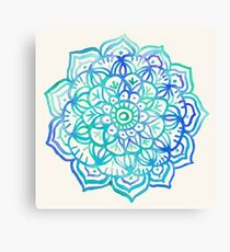 Watercolor Medallion in Ocean Colors Canvas Print