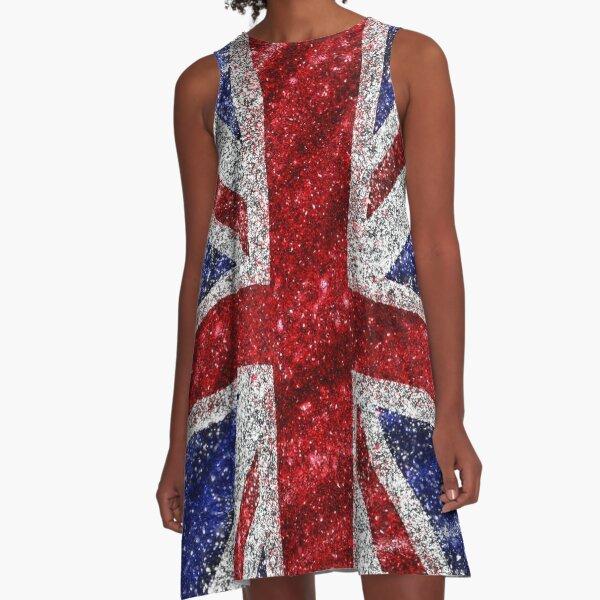 Glitter Union Jack Flag UK Sequin A-Line Dress