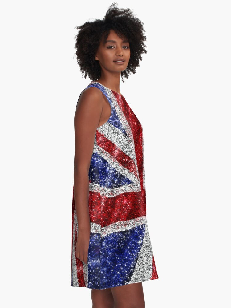 Alternate view of Glitter Union Jack Flag UK Sequin A-Line Dress