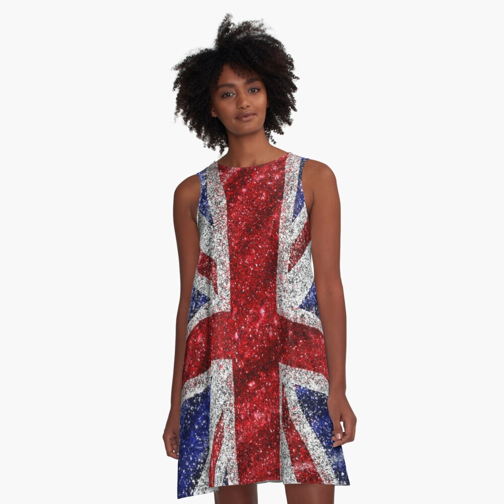 Glitter Union Jack Flag UK Sequin A-Line Dress